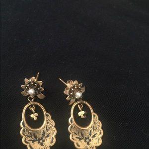 Vintage gold seed drop post earrings
